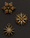 Estate Jewelry:Brooches - Pins, Three Vintage Pearl & Gold Pins. ... (Total: 3 Items)
