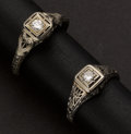 Estate Jewelry:Rings, Two Antique White Gold & Diamond Rings. ... (Total: 2 Items)