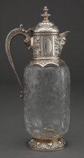 Silver Holloware, British:Holloware, A CHARLES EDWARDS AND STEVENS AND WILLIAMS VICTORIAN SILVER ANDENGRAVED GLASS CLARET JUG . Charles Edwards, London, Englan...
