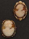 Estate Jewelry:Cameos, Two Shell Cameos With Multicolor Frames. ... (Total: 2 Items)