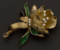 Estate Jewelry:Brooches - Pins, Gold & Diamond Brooch With Enamel. ...