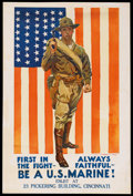 "Movie Posters:War, War Propaganda Poster (ca. 1918). World War I Poster (28"" X 42""). ""Be a U.S. Marine"" Recruitment Poster...."