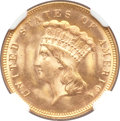 Three Dollar Gold Pieces, 1874 $3 MS65+ NGC. CAC....