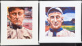 Baseball Collectibles:Others, Ty Cobb And Honus Wagner Hand Embellished Giclee Prints....