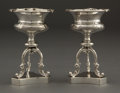 Silver Holloware, American:Open Salts, A PAIR OF GALE & SON SILVER SALTS ON TRIPOD STAND . WilliamGale & Son, New York, New York, circa 1852. Marks: G&S,WM. GA... (Total: 2 Items)