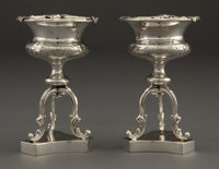 A PAIR OF GALE & SON SILVER SALTS ON TRIPOD STAND William Gale & Son, New York, New York, circa 1852 Marks: