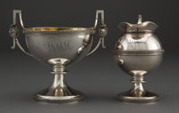 A GORHAM COIN SILVER AND SILVER GILT CREAMER AND OPEN SUGAR BOWL Gorham Manufacturing Co., Providence, Rhode Isla