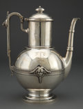 Silver Holloware, American:Tea Pots, A JOHN WENDT SILVER COFFEE POT . John R. Wendt & Co., New York,New York, circa 1868 . Marks: BALL, BLACK & CO, ENGLISHST...