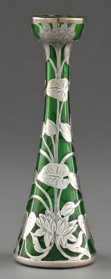 AN AMERICAN SILVER OVERLAY VASE Glass maker unknown; silver by Alvin Corporation, Providence, Rhode Island, circa