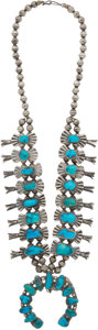 American Indian Art:Jewelry and Silverwork, A NAVAJO SILVER AND TURQUOISE SQUASH BLOSSOM NECKLACE. c. 1945...