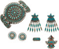 American Indian Art:Jewelry and Silverwork, FIVE ZUNI SILVER AND TURQUOISE JEWELRY ITEMS... (Total: 7 Items)