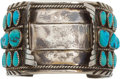 American Indian Art:Jewelry and Silverwork, A ZUNI SILVER AND TURQUOISE WATCH BAND...