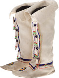 American Indian Art:Beadwork and Quillwork, A PAIR OF PLATEAU WOMAN'S BEADED HIDE HIGHTOP MOCCASINS. ...(Total: 1 Pair)