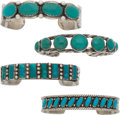 American Indian Art:Jewelry and Silverwork, FOUR NAVAJO SILVER AND TURQUOISE BRACELETS. c. 1940 - 1950...(Total: 4 Items)