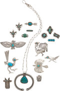 American Indian Art:Jewelry and Silverwork, SIXTEEN SOUTHWEST SILVER JEWELRY ITEMS. c. 1940 - 1980... (Total:16 Items)