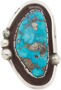 American Indian Art:Jewelry and Silverwork, A NAVAJO SILVER AND TURQUOISE RING...