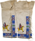 American Indian Art:Beadwork and Quillwork, A PAIR OF SIOUX PICTORIAL BEADED HIDE LEGGINGS . c. 1945...
