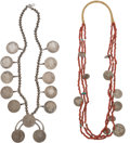 American Indian Art:Jewelry and Silverwork, TWO SOUTHWEST COIN NECKLACES. c. 1960 and 1970... (Total: 2 Items)