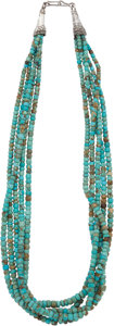 American Indian Art:Jewelry and Silverwork, A SANTO DOMINGO SILVER AND TURQUOISE NECKLACE. c. 1980...