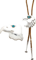 American Indian Art:Jewelry and Silverwork, TWO NAVAJO SILVER AND TURQUOISE JEWELRY ITEMS...