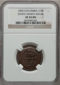 Colombia, Colombia: 1/4 Real 1820,...