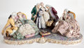 Ceramics & Porcelain, LARGE DRESDEN STYLE PORCELAIN FIGURAL GROUP WITH MEMBERS OF COURT IN EIGHTEENTH CENTURY COSTUME . Germany, 20th century . Ma...
