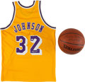 Basketball Collectibles:Others, Magic Johnson and George Mikan Signed Memorabilia Lot of 2....