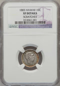Coins of Hawaii: , 1883 10C Hawaii Ten Cents--Scratched-- NGC Details. XF. NGC Census:(29/241). PCGS Population (68/367). Mintage: 250,000. ...
