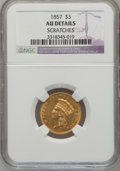 Three Dollar Gold Pieces: , 1857 $3 --Scratched-- NGC Details. AU. NGC Census: (32/495). PCGSPopulation (41/192). Mintage: 20,891. Numismedia Wsl. Pric...