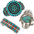 American Indian Art:Jewelry and Silverwork, THREE SOUTHWEST SILVER AND STONE BRACELETS... (Total: 3 Items)