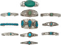 American Indian Art:Jewelry and Silverwork, ELEVEN SOUTHWEST SILVER AND TURQUOISE BRACELETS. c. 1940 - 1970...