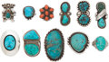 American Indian Art:Jewelry and Silverwork, ELEVEN NAVAJO SILVER AND STONE RINGS. c. 1960 - 1980. ... (Total:11 Items)