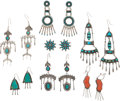American Indian Art:Jewelry and Silverwork, SEVEN PAIRS OF SOUTHWEST SILVER AND STONE EARRINGS. c. 1940 -1980... (Total: 7 Pair)