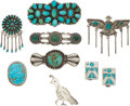American Indian Art:Jewelry and Silverwork, EIGHT SOUTHWEST SILVER JEWELRY ITEMS. c. 1940 - 1980... (Total: 8Items)