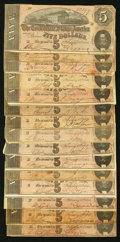 Confederate Notes:1864 Issues, T69 $5 1864 Fifteen Notes.. ... (Total: 15 notes)