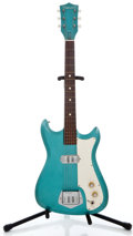 Musical Instruments:Electric Guitars, 1960's Silvertone Single Pickup Turquoise Solid Body ElectricGuitar ...
