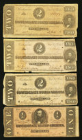 Confederate Notes:1864 Issues, T71 $1 1864. T70 $2 1864 Three Examples.. ... (Total: 4 notes)