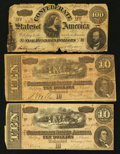 Confederate Notes:1864 Issues, T65 $100 1864.. T68 $10 1864 Two Examples.. ... (Total: 3 notes)