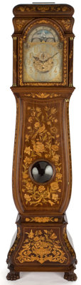 DUTCH MARQUETRY TALL CASE CLOCK FITTED WITH AN ENGLISH MOVEMENT FEATURING WESTMINSTER CHIMES, RETAILED BY TIFFANY &...