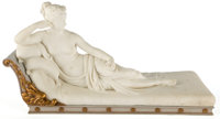 CARVED MARBLE SCULPTURE OF PAULINE BORGHESE AFTER ANTOINE CANOVA ON WOODEN BASE After Antoine Canova, Italian, 20