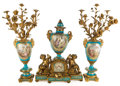 Paintings, SÈVRES STYLE PORCELAIN AND GILT BRONZE MOUNTED THREE-PIECE GARNITURE; CLOCK AND SIX-LIGHT CANDELABRUM . France,...
