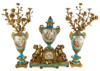 SÈVRES STYLE PORCELAIN AND GILT BRONZE MOUNTED THREE-PIECE GARNITURE; CLOCK AND SIX-LIGHT CA