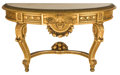 Furniture : French, LOUIS XVI STYLE GILT WOOD CONSOLE TABLE WITH MARBLE TOP. 20thcentury . 34 x 58-1/2 x 21-1/4 inches (86.4 x 148.6 x 54.0 cm)...
