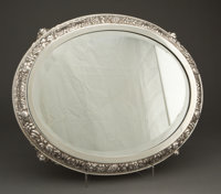 SPANISH SILVER OVAL MIRRORED PLATEAU RETAILED BY QUINTANA 20th century Marks: (star), (unidentified maker's ma