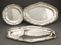 Silver & Vertu:Hollowware, GROUP OF THREE TOURON SILVER PLATTERS WITH RIBBONED BANDED BORDERS MONOGRAMMED SS . Paris, France, 20th century... (Total: 3 Items)