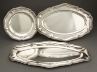GROUP OF THREE TOURON SILVER PLATTERS WITH RIBBONED BANDED BORDERS MONOGRAMMED SS