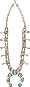 American Indian Art:Beadwork and Quillwork, A NAVAJO SILVER AND TURQUOISE SQUASH BLOSSOM NECKLACE...