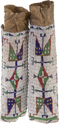American Indian Art:Beadwork and Quillwork, A PAIR OF SIOUX WOMAN'S BEADED HIDE LEGGINGS. c. 1890... (Total: 1Pair)