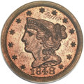 Proof Braided Hair Half Cents, 1848 1/2 C First Restrike PR62 Red PCGS. B-2, High R.5....