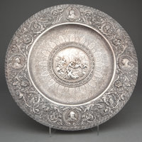 SPANISH SILVER REPOUSSÉ CHARGER Madrid, Spain, circa 1890 Marks: TA under flower, 916, F. GRANDA